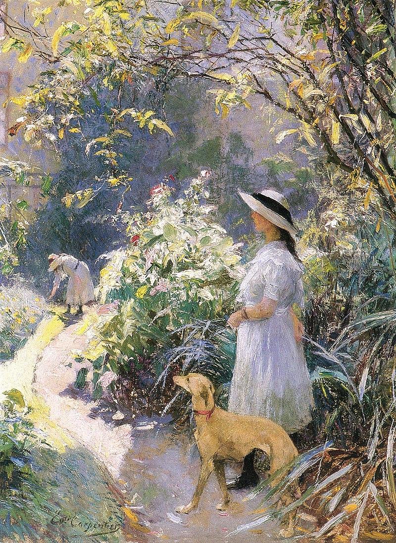 La jeune fille et le lévrier dans le jardin. (пар Эварист Карпантье).jpg