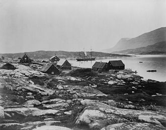 Lady Franklin Bay Expedition - Proteus in the harbor at Qeqertarsuaq during the expedition