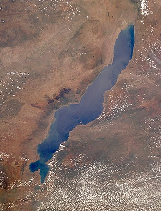 Lake Malawi - View from orbit North is in upper right corner