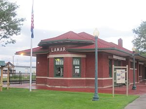 Lamar, Colorado - Restored railroad depot and Lamar visitor center