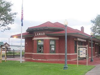 Lamar, Colorado - Restored railroad depot and Lamar visitor center