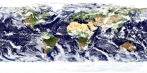 Physical geography - True-color image of the Earth's surface and atmosphere. NASA Goddard Space Flight Center image.