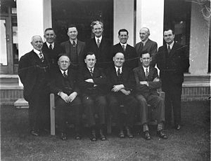 Joe Clark (Australian politician) - Lang Labor members of the 14th Parliament, Old Parliament House, Canberra, 1935.  Joe Clark is standing at right.