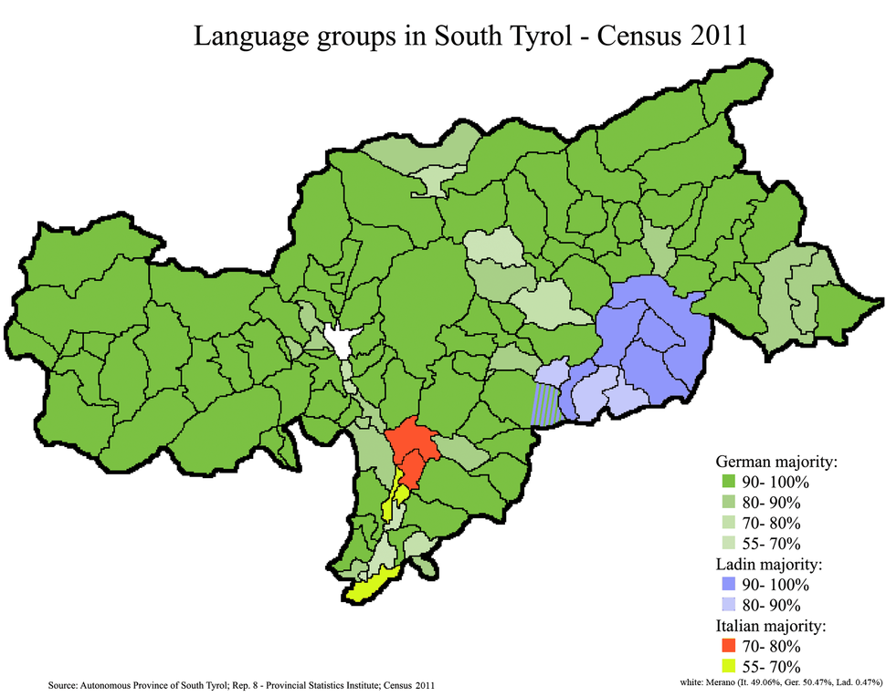 Language distribution in South Tyrol, Italy 2011, en
