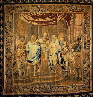 Brussels tapestry - The Marriage of Clovis (detail) by Jean Le Clerc, Brussels, 17th century  (ex-Palace of Tau)