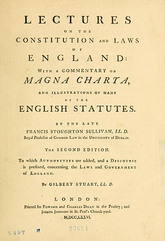 Joseph Johnson (publisher) - The second English edition of Francis Stoughton Sullivan's Lectures on the Constitution and Laws of England, published by Johnson in 1776
