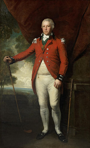 Lemuel Francis Abbott - Portrait of Henry Callender standing full-length in a landscape in the attire of Captain General of the Blackheath Golf Club, between 1790 and 1798.