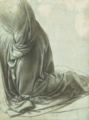 Leonardo study of drapery for the kneeling angel of the Virgin with the rocks (version of London).png