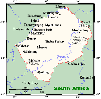 Geography of Lesotho - Map of Lesotho