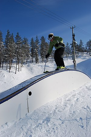 Terrain park - Skier on funbox in terrain park in Levi, Finland