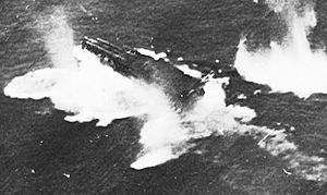 Chitose-class aircraft carrier - Chitose-class aircraft carrier under attack, 25 October 1944