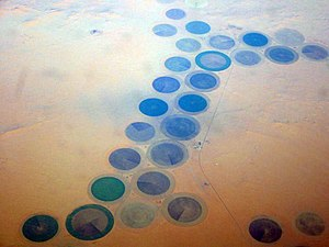 English: Libyan pivot irrigation in Al Kufrah,...