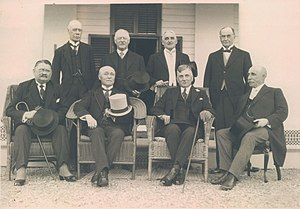 Monarchy in the Canadian provinces - A meeting of Canada's lieutenant governors in September 1925; standing, from left to right: Henry William Newlands, Walter Cameron Nichol, Frank Richard Heartz, James Albert Manning Aikins; seated, left to right: James Robson Douglas, Narcisse Pérodeau, Henry Cockshutt, William Frederick Todd