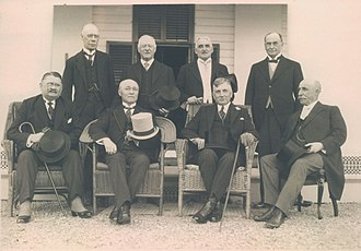 Lieutenant governor (Canada) - A meeting of Canada's lieutenant governors in September 1925; standing, from left to right: Henry William Newlands (Saskatchewan), Walter Cameron Nichol (British Columbia), Frank Richard Heartz (Prince Edward Island), James Albert Manning Aikins (Manitoba); seated, left to right: James Robson Douglas (Nova Scotia), Narcisse Pérodeau (Quebec), Henry Cockshutt (Ontario), and William Frederick Todd (New Brunswick);  (missing:  Robert Brett (Alberta)