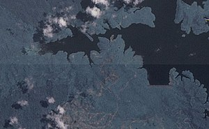 Kota Gelanggi - Kota Gelanggi's Linggui Dam as shown in a satellite photo.
