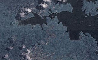 Kota Gelanggi - Kota Gelanggi's Linggui Dam as shown in a satellite photo.