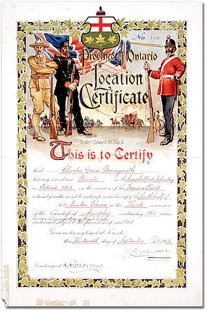 Fenian raids - Location Certificate issued in 1905 to a private who fought the Fenians in 1866