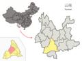 Location of Jinggu within Yunnan (China).png