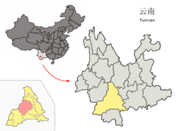 Location of Jinggu County (pink) and Pu'er Prefecture (yellow) within Yunnan province of China