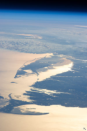 Buzzards Bay - Buzzards Bay and surrounding area from orbit (looking southwest)