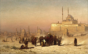 Cairo - Louis Comfort Tiffany (1848–1933). On the Way between Old and New Cairo, Citadel Mosque of Mohammed Ali, and Tombs of the Mamelukes, 1872. Oil on canvas. Brooklyn Museum