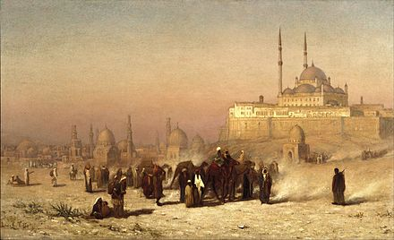 Louis Comfort Tiffany (1848-1933). On the Way between Old and New Cairo, Citadel Mosque of Mohammed Ali, and Tombs of the Mamelukes, 1872. Oil on canvas. Brooklyn Museum Louis Comfort Tiffany - On the Way between Old and New Cairo, Citadel Mosque of Mohammed Ali, and Tombs of the Mamelukes - Google Art Project.jpg