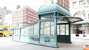 Astor Place (IRT Lexington Avenue Line) - Uptown entrance, a reproduction of an old IRT kiosk