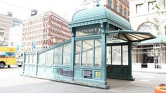 Astor Place (IRT Lexington Avenue Line) - Uptown entrance, a reproduction of an old IRT kiosk