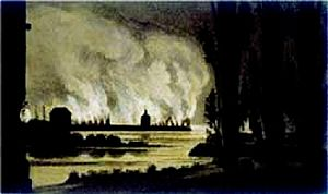 Battle of Ludwigshafen - Ludwigshafen burns - 15 June 1849
