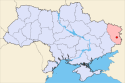 Map of Ukraine with Luhansk highlighted.