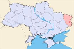 Luhansks beliggenhed i Ukraine.