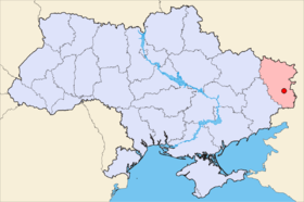 Map of Ukraine with Lugansk highlighted.