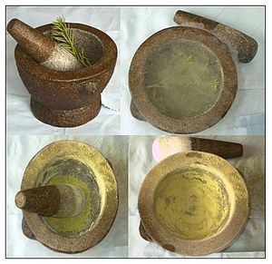 Mortar and pestle - Mortar used to pulverize plant material.