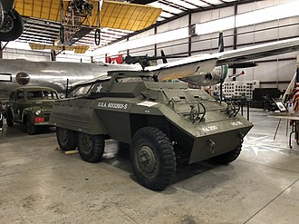Pueblo Weisbrod Aircraft Museum - Along with its extensive aircraft collection, PWAM also possesses several historic military vehicles. The museum's M20 is located in Hanger One.