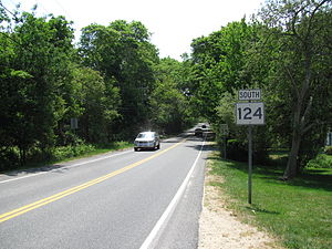 Massachusetts Route 124 - Southbound from Route 6A in Brewster