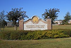 The main campus of Mississippi Gulf Coast Community College is located in Perkinston, Mississippi