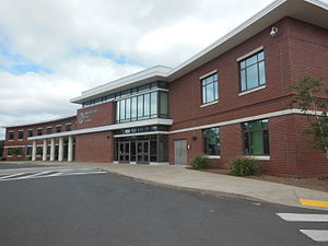 Manchester High School (Connecticut) - MHS freshman center entrance in 2014.