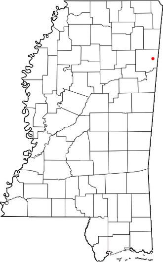 Greenwood Springs, Mississippi - Image: MS Map doton Greenwood Springs