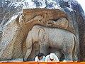 Maamallapuram Elephant monkey and peacock.jpg