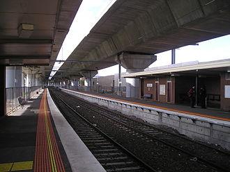Upfield railway line - Macaulay station, under the CityLink freeway