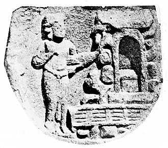 Indrasala Cave - Visit of Indra to the Indrasala cave. The Buddha is symbolized by his throne in the cave. Mahabodhi Temple, Bodh Gaya, circa 150 BCE.