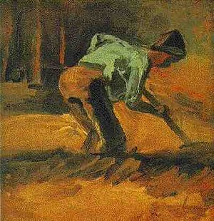 Early works of Vincent van Gogh - Man Stooping with Stick or Spade 1882 Kuboso Memorial Museum of Arts, Izumi, Japan (F12)