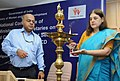 Maneka Sanjay Gandhi lighting the lamp to inaugurate the National Conference of the State Ministers and Principal SecretariesSecretaries of WCD to review the implementation of various schemes of Ministry.jpg