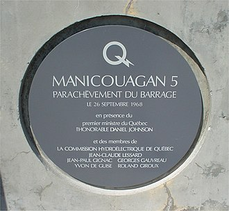 Daniel Johnson Sr. - Original dedication plaque — Manicouagan 5, 1968.