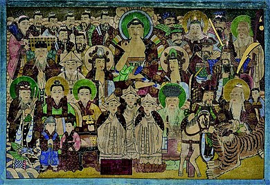 Painting with several Asian deities facing front, in front of dark background.