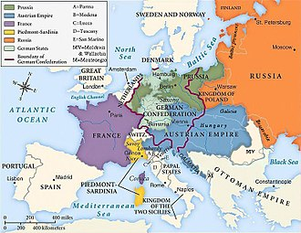Concert of Europe - The national boundaries within Europe as set by the Congress of Vienna, 1815.