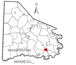 Location of Beallsville in Washington County