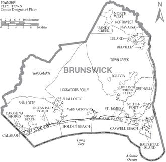 Brunswick County, North Carolina - Map of Brunswick County, North Carolina, with municipal and township labels