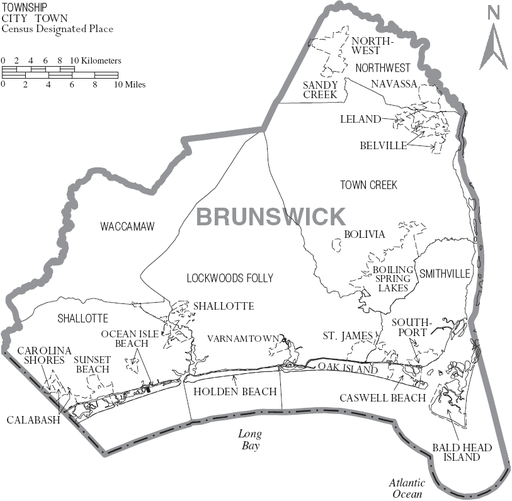 Map of Brunswick County North Carolina With Municipal and Township Labels