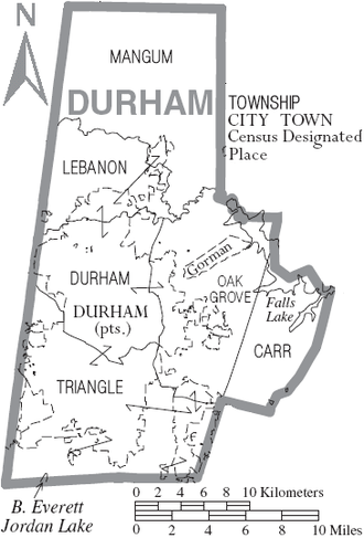 Durham County, North Carolina - Map of Durham County, North Carolina, With Municipal and Township Labels